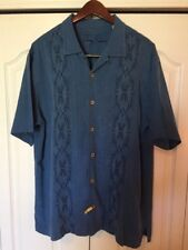 Tommy Bahama SS Silk Floral Shirt -Blue -Island Chopper Bike Shop -Mens Large-L