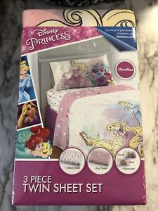 Disney Princess 3 Piece Microfiber Twin Bedding Sheet Set Pillowcase Kids Girls