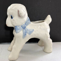 Vintage Ceramic White Lamb Planter Occupied Japan Hand Painted