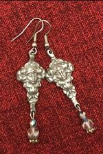 Goddess Maiden Fairy Earrings Celtic Gothic Medieval Art Nouveau Silver Pewter