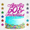 Personalised 50 and Fabulous Birthday Glitter Cake Topper Any Name Any Age 40 60