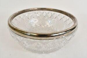 Vintage Crystal Salad 8 In Serving Bowl W/Ornate Cut Design & Silver Plated Trim