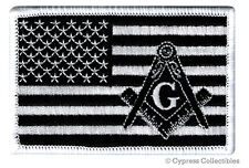MASONIC LOGO BLACK FLAG EMBROIDERED PATCH iron-on FREEMASON SQUARE COMPASS MASON
