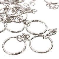 50x Silver Tone 4 Link Chain Keyring Blanks Keychain Key Fob Split Rings