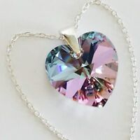 925 Silver Swarovski Elements Crystal Heart Necklace Pendant Vitrail L Christmas