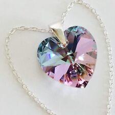 925 Sterling Silver Swarovski Elements Crystal Heart Necklace Pendant Vitrail L