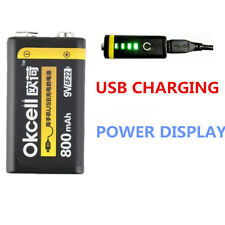 OKcell 9V 800mah Batterie Accu Battery LED USB Rechargeable Lipo Microphone