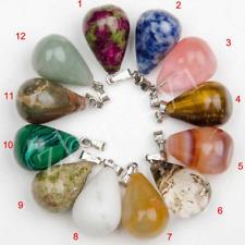 Wholesale 5Pcs Mix Natural Stone Water Drop Shaped Charm Necklace Pendant Gift