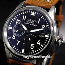 47mm parnis black dial power reserve date automatic brown strap mens watch PB98