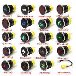 19mm 12V Black Stainless Metal LED Push Button Switch Van Marine Boat Race
