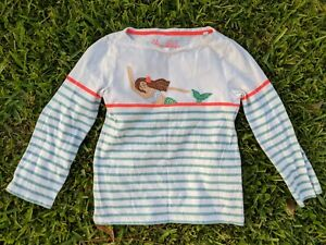 Mini Boden Breton Knit Stripe Mermaid Appliqué LS Shirt Girl 7-8Y