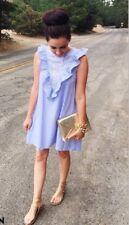 Vestito Righe Gale Scollo V Mini Abito Camicia Donna Celeste Bianco S 42 Barbie