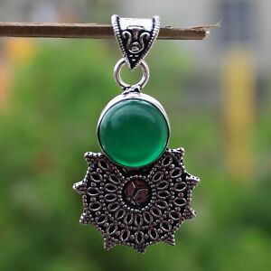 925 Sterling Silver Plated Green Onyx Handmade Pendant Jewelry DP20-119