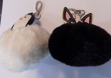 2 Cute  Pom-pom KeyChain Charm Fluffy dog and penguin