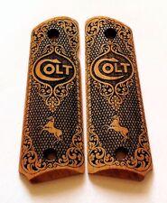 Colt 1911 custom engraved wood grips rampant horse logo Scroll Pattern
