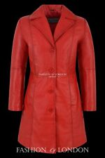 Ladies MIDDLETON Leather Coat Red Waxed Classic Formal Long Leather Jacket 3457
