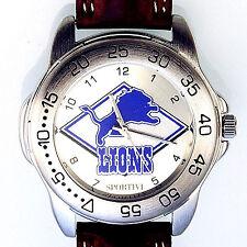 Detroit Lions Sportivi New Unworn NFL Mans Vintage 1997 Heavy Leather Watch! $75