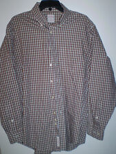 BROOKS BROTHERS Mens Shirt Long Sleeve Button Down (M) MED Orange Gray Plaid