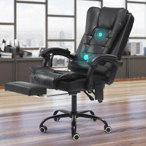Luxury Massage Computer Office Desk Gaming Chair Swivel Recliner W/ Footrest UK