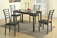 Kitchen Dining 5 Piece Faux Leather Set  Breakfast Furniture Table and 4 Chairs