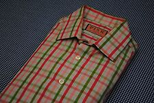 THOMAS PINK EASTER PLAID SHIRT SPREAD COLLAR 15.5 SLIM FIT FRENCH CUFF GREEN CHE