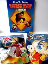 Lot of 3 Learn How to Draw FREE SHIP books Avatar Bakugan Donkey Kong Foster