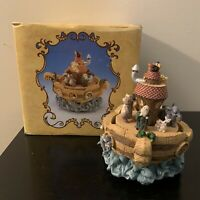 "BEAUTIFUL NOAH'S ARK MUSICAL BOX/CAROUSEL PLAYS ""SOMEWHERE OVER THE RAINBOW"""