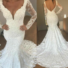 Luxury Mermaid Wedding Dresses V Neck Lace Bridal Gown Sweep Train Long Sleeves
