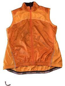 Womens Novara orange cycling vest full zip mesh back Size S