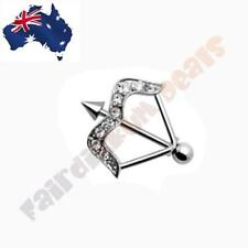 316 Surgical Steel Arrow Nipple Shield Ring with Clear CZ Gems