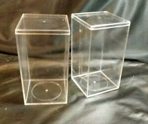 2 TY BEANIE BABIES PLASTIC CASE 4X4X7 DUST FREE STORAGE CLEAR USED CONDITION