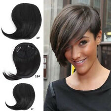 Womens Short Bangs Clip In Human Hair Extensions Ebay Neat On Front
