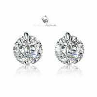 18k white gold gp made with SWAROVSKI crystal stud earrings crown solitaire 4ct