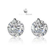 18k white gold gp made with SWAROVSKI crystal wedding party stud earrings crown