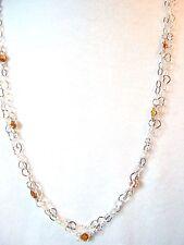 "20""Station Necklace Sapphire/Garnet 3+ Cts  SterlingChain Handmade"