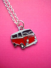 FUNKY RED BLACK VW CAMPERVAN NECKLACE KITSCH RETRO SURFER COOL DUDE HIPPY 60s 70