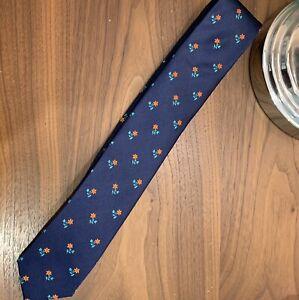New Tommy Hilfiger Men's Necktie  Navy Skinny Tie Orange Small Flowers