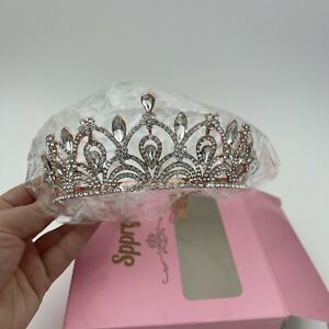 Women Tiara with Comb - Queen Crystal Crown for Bridal Girls Rose Gold *FLAW*