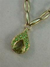 "LARGE DESIGNER PEAR QUARTZ PERIDOT 14KT GOLD HANGING NECKLACE ITALY 17"" #DMN1472"