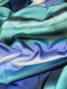 "1 mtr green/blue/black ombre stripe charmeuse satin fabric 58"" wide (147cm)"