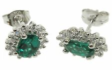 Emerald Small Oval Earrings with Cubic Zirconias ZDSE1856
