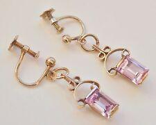 Fine Antique Pair Edwardian 9ct Gold Amethyst Screw-back Drop Earrings c1905