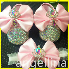 Baby shoes baby girls  Rhinestones Princess Shoes butterfly knot Baby PINK
