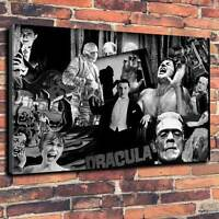 """Classic Monsters Dracula, Frankenstein Printed Canvas A1.30""""x20""""~Deep 30mm Frame"""