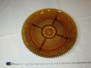 """Tiara Indiana Glass Amber Sandwich 5 Part Divided Relish 12"""" Tray Veggy ~"""