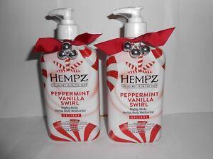 2 HEMPZ NEW! PEPPERMINT VANILLA SWIRL HERBAL BODY MOISTURIZER 17 oz. GREAT GIFT