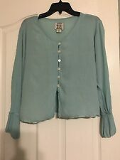 Nomadic Traders Rayon Aqua Button Up Blouse-Top Sz M Women's