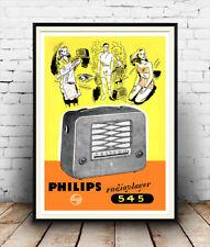 Phillips Radio Reproductor: revista cartel, anuncio vintage reproducción.
