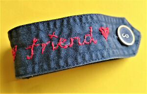 Denim fabric FRIEND bracelet LOVE Handcrafted GIFT heart NAVY BLUE red jeans BFF