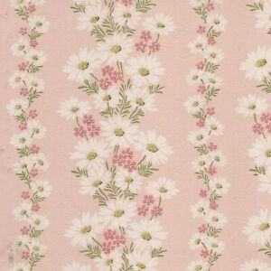 Dollhouse Miniature Shabby Chic Wallpaper Pink Daisies Stripe Floral 1:12